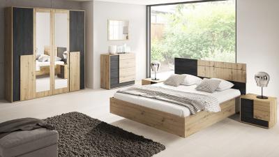 Set complet dormitor Bafra Stejar artisan/ Pin negru norvegian