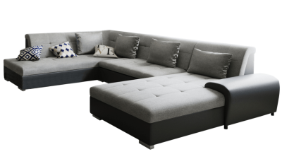 Canapea din material textil si piele ecologica Liberto Gri/Negru