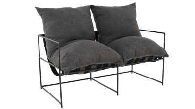 Canapea 2 locuri Deker Gri/Negru