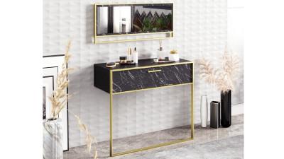 Set consola si oglinda Castelmola Negru/Auriu
