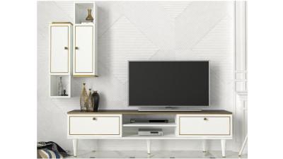 Set comoda TV si etajera din PAL melaminat Regalbuto Alb/Auriu