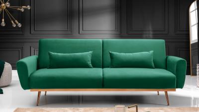 Canapea extensibila din catifea Invicta Interior Bellezza Verde