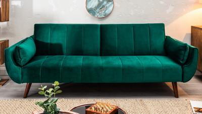Canapea extensibila din catifea Invicta Interior Divani II Verde