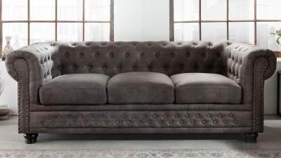 Canapea cu 3 locuri Invicta Interior Chesterfield Taupe