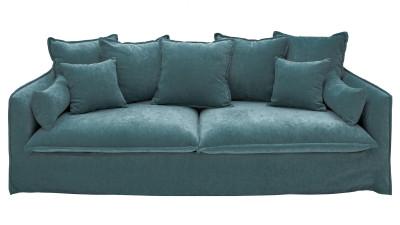 Canapea cu 3 locuri din catifea Invicta Interior Heaven Albastru petrol