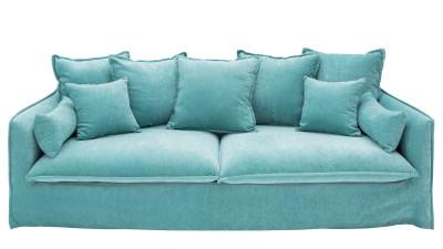 Canapea cu 3 locuri din catifea Invicta Interior Heaven Aqua
