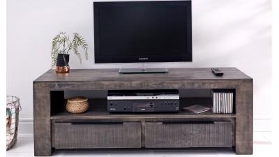 Comoda TV din lemn de mango Invicta Interior Iron Craft Grey - 130 cm
