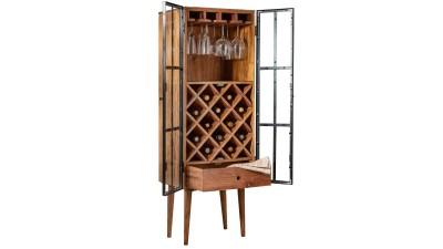 Suport din lemn de salcam pentru pahare si 14 sticle Invicta Interior Bodega