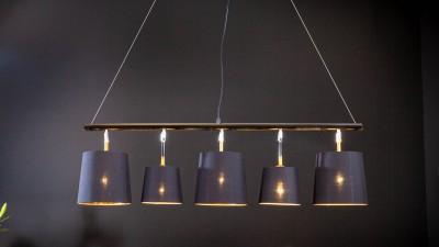 Lustra cu 5 brate orientabile Invicta Interior Levels Negru Gold