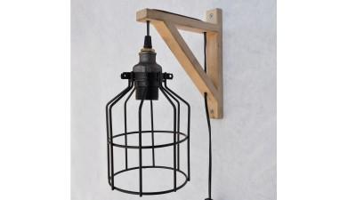 Aplica din lemn si metal cu intrerupator pe cablu Cammarata