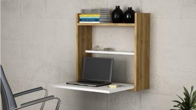 Birou de perete pentru laptop Lipari Alb/Maro