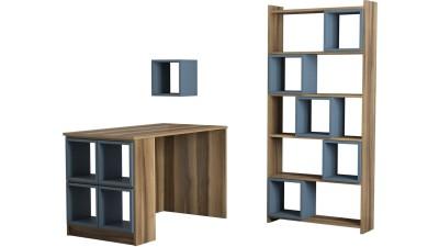 Birou, etajera si biblioteca din PAL melaminat Acantara Maro/Blue