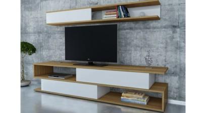 Set comoda TV si etajera din PAL melaminat Saul Alb/Natur