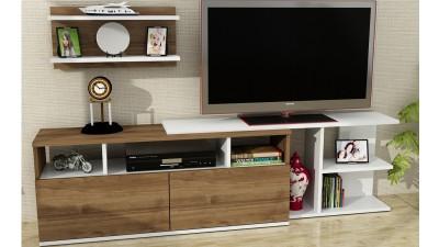 Set comoda TV si etajera din PAL melaminat Wellington Maro/Alb