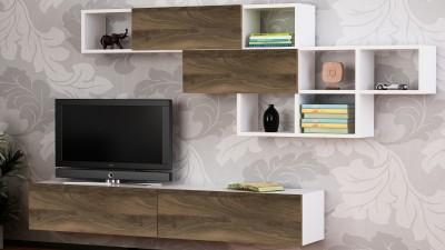 Set comoda TV si etajera din PAL melaminat Mangaly Alb/Maro