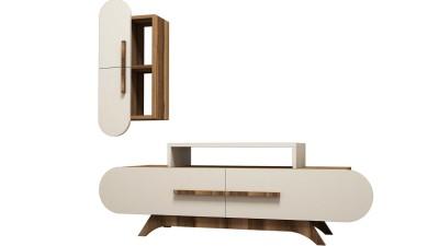 Set comoda TV si etajera din PAL melaminat Attica Cream/Maro