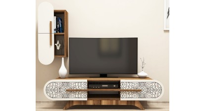 Set comoda TV si etajera din PAL melaminat Attica II Cream/Maro