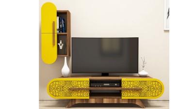 Set comoda TV si etajera din PAL melaminat Attica II Yellow/Maro