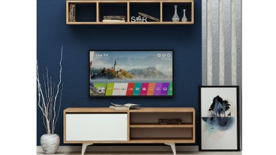 Set comoda TV si etajera din PAL melaminat Focusi Alb/Maro