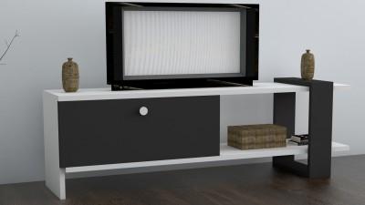Comoda TV din PAL melaminat Eleona Antracit/Alb