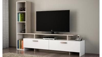 Comoda TV din PAL melaminat Oliveri Alb/Natur