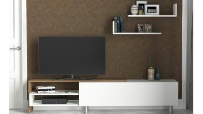 Set comoda TV si 2 etajere din PAL melaminat Exclusive Alb/Maro
