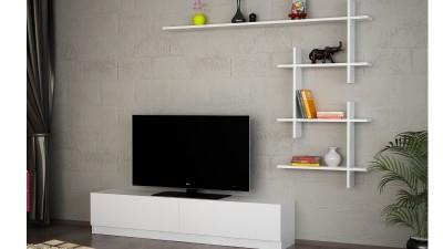 Set comoda TV si etajera din PAL melaminat Sorana Alb