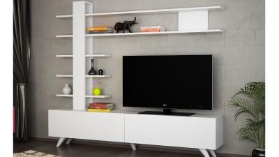 Set comoda TV si etajera din PAL melaminat Intesa Alb