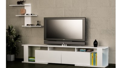 Set comoda TV si etajera din PAL melaminat Artica Alb