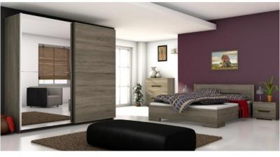 Set dormitor din PAL melaminat Betino Stejar sonoma inchis
