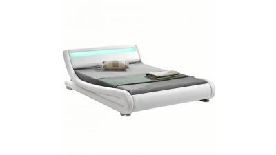 Pat modern cu RGB LED iluminare, alb, 160x200, FILIDA