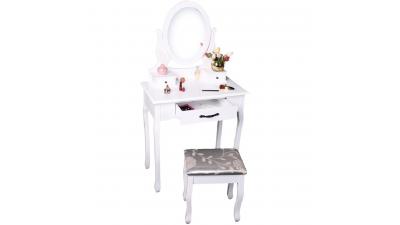 Masa de toaleta si taburet Linet Alb