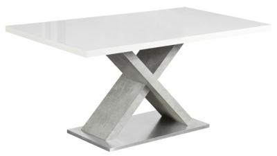 Masa dining din MDF si metal Farnel Alb extra lucios/beton