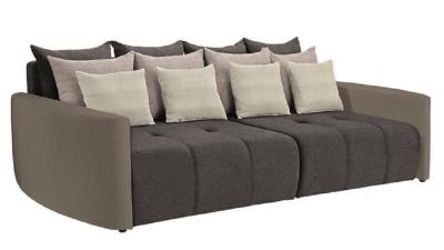 Canapea cu arcuri din piele ecologica si material textil Porto Taupe/Maro/Crem