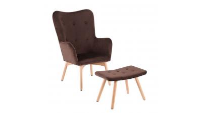Set fotoliu si scaun pentru picioare Lager Maro