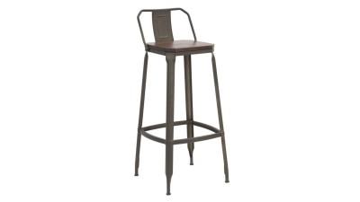 Set 2 scaune de bar din lemn de ulm si fier Mauro Ferretti Harlem