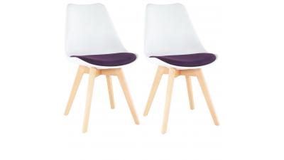 Set 2 scaune dining Damara Alb/Violet
