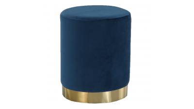Taburet din catifea si metal Alaz Albastru/Auriu