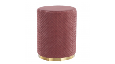 Taburet din catifea si metal Barica Roz/Auriu