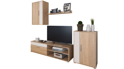 Set comoda TV din DTD laminat Kevin Stejar/Alb