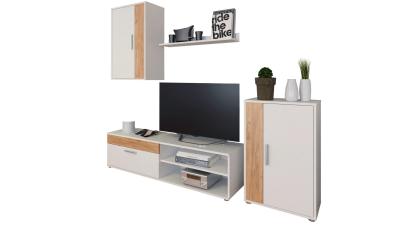 Set comoda TV din DTD laminat Kevin Alb/Stejar